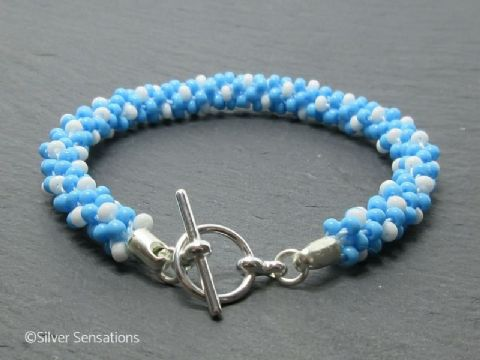 Aqua Blue & White Beaded & Woven Kumihimo Seed Bead Bracelet